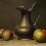 Pears, an Apple , and a Pitcher, 9x12 inches